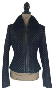 Marvin Richards Leather Fur Woven Leather Jacket