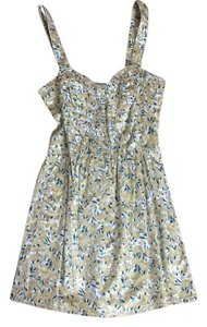 Free People short dress yellow and green floral pattern on Tradesy