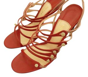 Gucci Leather Mother Of Pearl Italian Red Sandals
