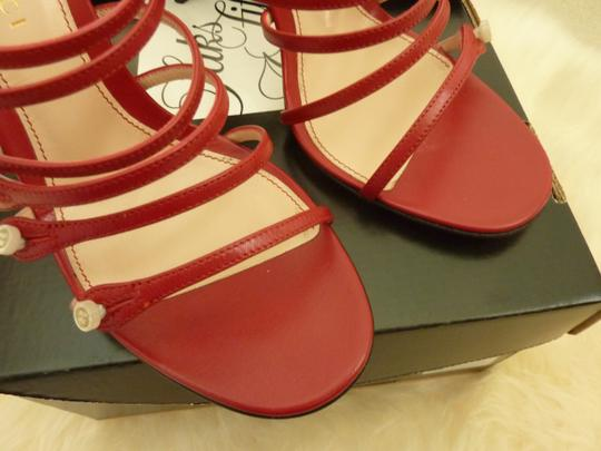 Gucci Leather Mother Of Pearl Italian Red Sandals Image 11