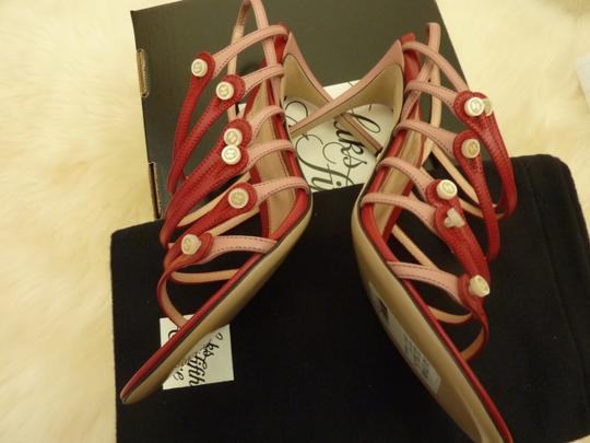 Gucci Leather Mother Of Pearl Italian Red Sandals Image 5
