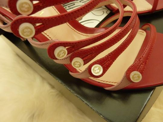 Gucci Leather Mother Of Pearl Italian Red Sandals Image 7