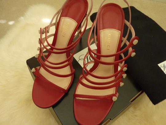 Gucci Leather Mother Of Pearl Italian Red Sandals Image 8