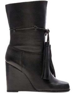 Jeffrey Campbell Sexy Black Tassel Tie Wedge Boots