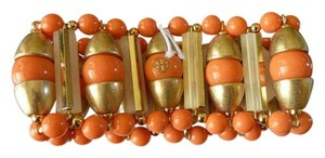 Tory Burch $225 TORY BURCH 'Candelaria' Stretch Bracelet Brass Beads Coral/Gold