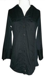 Maurices Button Up Pinstripe Longsleeve 3/4 Sleeve Top Black