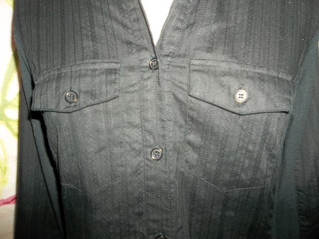 Maurices Button Up Pinstripe Longsleeve 3/4 Sleeve Top Black Image 2