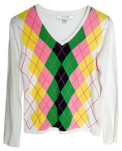 Liz Claiborne Argyle Cotton Golf White Multi Color Sweater