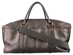 Louis Vuitton Leather Travel Duffle Commanche Textured Brown Travel Bag