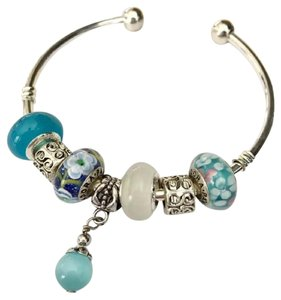 PANDORA Sterling Silver Bracelet With 3 authentic PANDORA Blue Beads charms