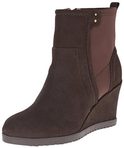 Taryn Rose Comfortable Brown Suede Stretch Wedge Boots