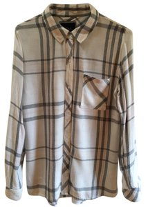 Rails Button Down Shirt White with Pale Pink and Black Plaid Pattern