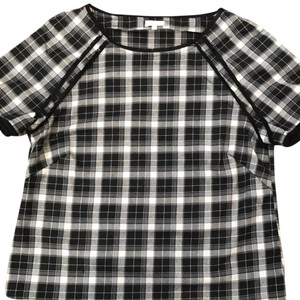 Elorie Top black/white and blue plaid