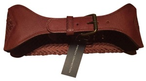 French Connection French Connection Wide Leather Weave Belt