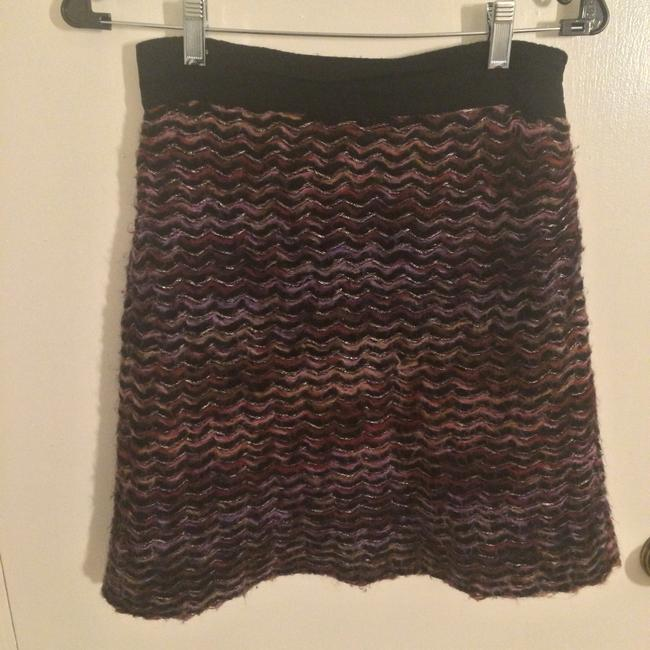 Anthropologie Knit Striped Knitted & Knotted Grosgrain Mini Skirt Pink Image 1