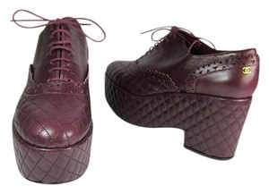 Chanel Leather Cc Quilted Runway Burgundy Pumps