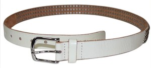 Free People Pre-owned Free People Studded Leather Belt Ivory Large