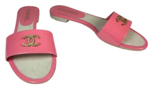 Chanel Leather Cc Pink Logo Flat Sandals