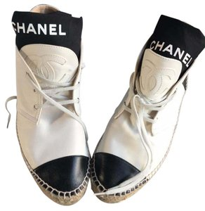 Chanel High Top Lambskin Espadrille Black and White Flats