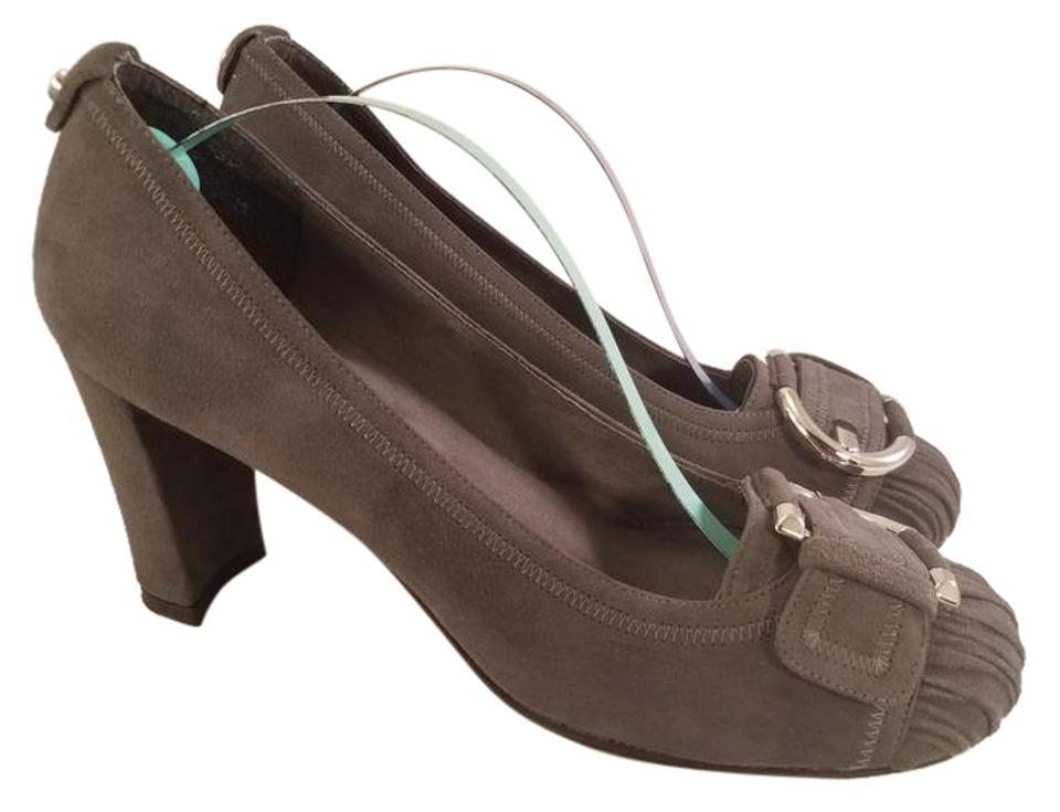 ea28a1f31e6 Stuart Weitzman Gray Suede with Big Silver Buckle On Vamp Pumps Size ...
