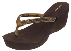 Nine West Embellished Wedge Brown Sandals