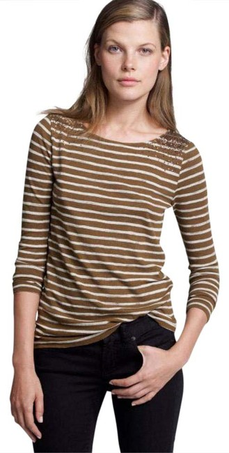 Preload https://img-static.tradesy.com/item/20851747/jcrew-brown-and-cream-nwot-striped-sequin-tee-shirt-size-6-s-0-1-650-650.jpg