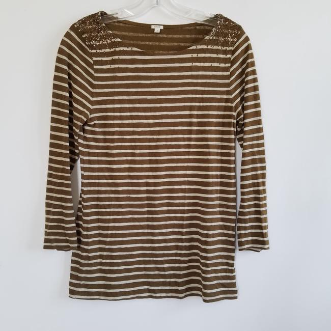 J.Crew Striped Sequin T Shirt Brown and Cream Image 1