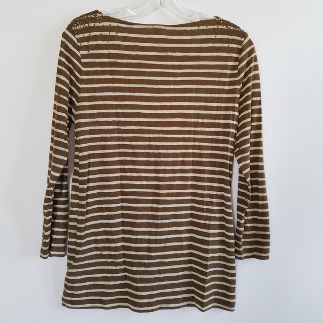 J.Crew Striped Sequin T Shirt Brown and Cream Image 2