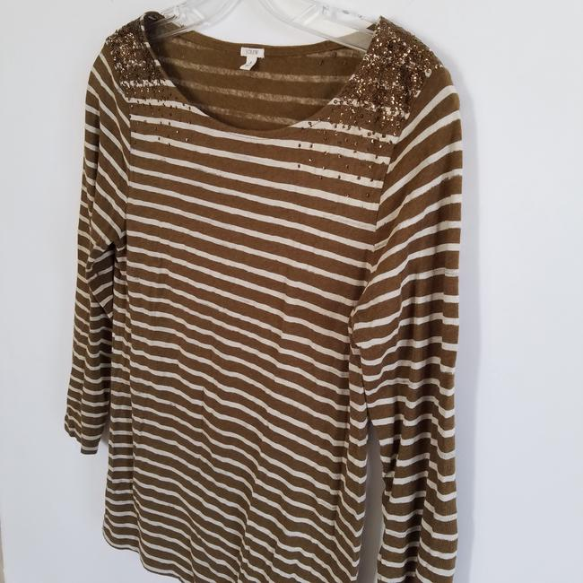 J.Crew Striped Sequin T Shirt Brown and Cream Image 3