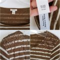 J.Crew Striped Sequin T Shirt Brown and Cream Image 4