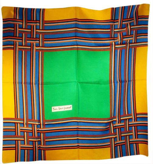 Preload https://img-static.tradesy.com/item/20851778/saint-laurent-yellow-green-blue-primary-colors-vintage-yves-silk-mint-condition-scarfwrap-0-1-540-540.jpg