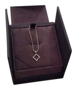 David Yurman Quarter foil diamond pendant with gold accent 16 inch chain