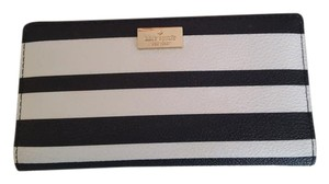 Kate Spade Kate Spade Black and White Striped Stacy Wallet