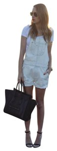 American Eagle Outfitters Denim Overalls Ripped Relaxed Pants Denim White