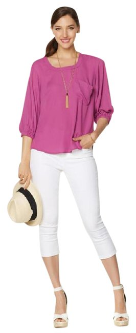 Item - Viola Purple Nwt- Melissa Mccarthy Button-back Boxy Tee Orig 4x Blouse Size 28 (Plus 3x)