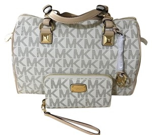 Michael Kors Grayson Large Pvc Mk Logo Wallet Satchel in Signature Vanilla