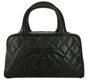 Chanel Caviar Leather Bowling Bowler Satchel in Black