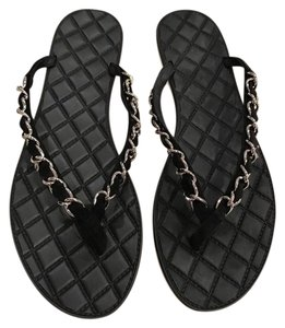 Chanel Chain Logo Suede Thong Slide black Sandals