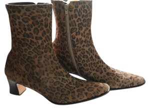Etienne Aigner Brown Animal Print Boots