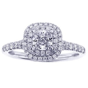 Tiffany & Co. Tiffany Soleste cushion cut modified brilliant cut . size 5. platinum ring