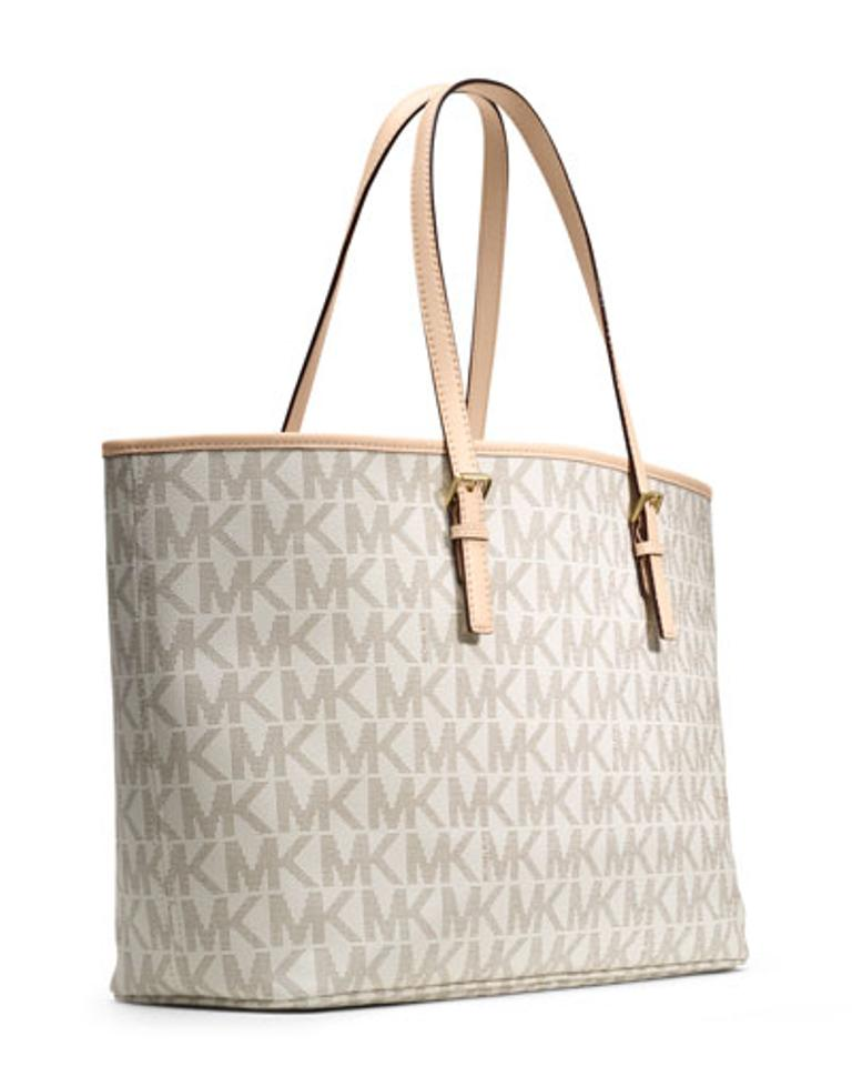 cc3b3a7e7d4513 Michael Kors Jet Set Travel Md Mk Logo X-large New with Tags Monogram  Vanilla/Gold Hardware Pvc and Leather Tote - Tradesy