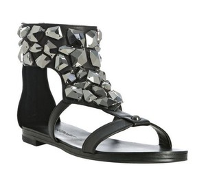 Jean-Michel Cazabat Embellished Jewels Bling Black Sandals