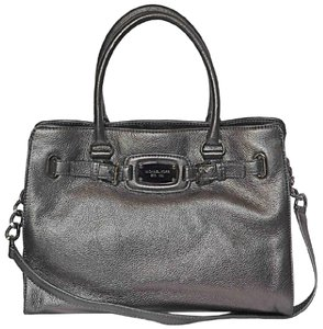Michael Kors Mk Large Hamilton Pebbled Leather Mk Hamilton Mk Nickel Tote in GUNMETAL NICKEL/SILVER Hardware