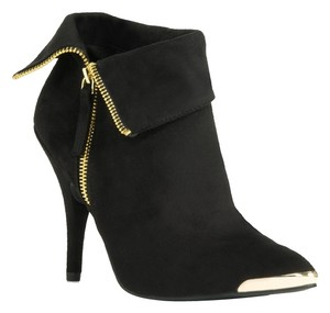 JustFab Suede Cap Toe Gold Ankle Black Boots