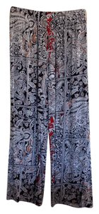 Ambience Apparel Boho Medium 100% Rayone Machine Washable Nwot Wide Leg Pants Black, Red, Tan & White