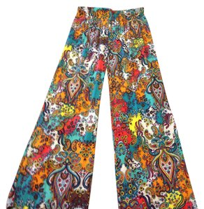Ambience Apparel Nwot Boho Large 100% Rayon Machine Washable Wide Leg Pants Multi Color Paisley