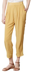 Harlyn Silk High-waisted Pegged Trouser Capri/Cropped Pants Mustard