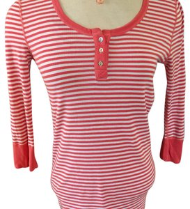Michael Stars T Shirt coral and white