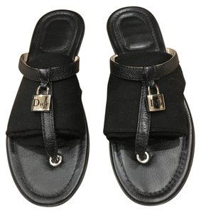 Dior Leather Flat Summer Casual Black Sandals
