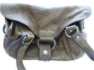Miu Miu Distressed Leather Nickel Hardware Shoulder Bag
